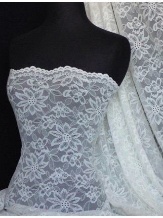 Ivory White Flower Scalloped 4 Way Stretch Lace Fabric