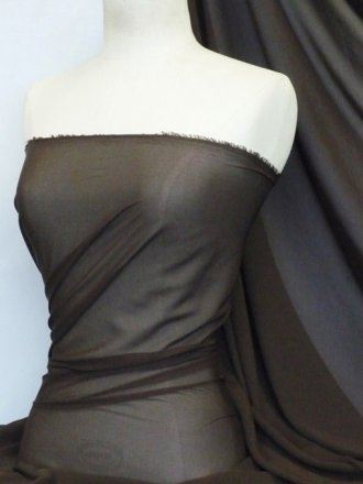 Chiffon Soft Touch Sheer Fabric Material- Dark Chocolate DKCHO