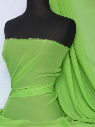 Chiffon Soft Touch Sheer Fabric Material- Apple Green Q354 APLGR