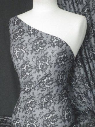 Grey Floral Subtle Shimmer Sheer Stretch Fabric