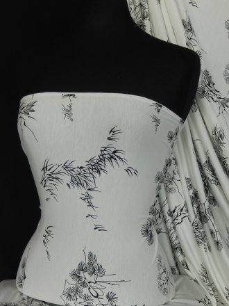 Lycra Viscose Cotton Stretch Lycra Fabric- Ivory/Black Japanese Garden Q1153 IVBK