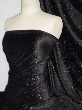 Velvet 4 Way Stretch Spandex Lycra- Star Gazer Black GVEL40a BKSL