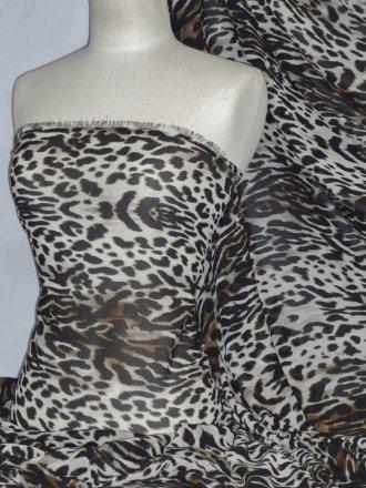 Chiffon Soft Touch Sheer Fabric - Leopardess PCH23 BRBK