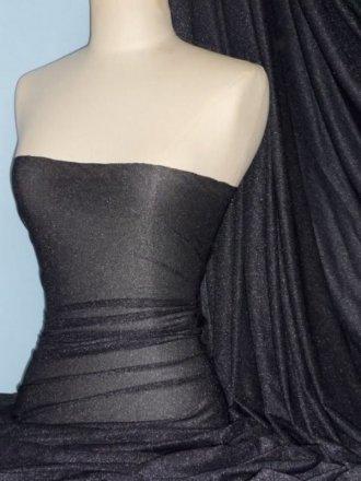 Subtle Silver Shimmer 4 Way Stretch Fabric - Black SQ54 BK