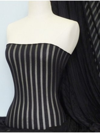 Poly Viscose Burn Out 4 Way Stretch Sheer Fabric- Black Stripe Q1061 BK