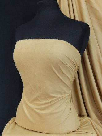 Gold Sand Suedette Stretch Fabric Material Q503 GLDSND