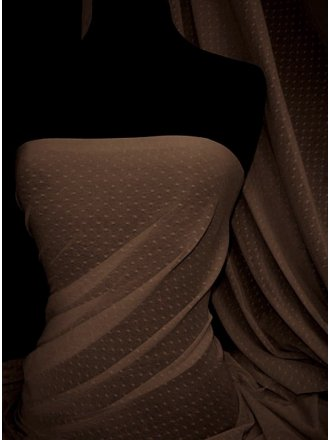 Helenka Mesh Spot Sheer Stretch Material- Brown SQ37 BR