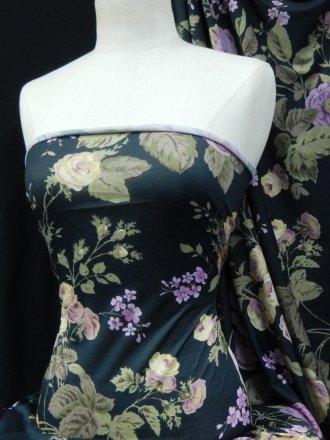 Spun Poly Medium Weight Fabric- Chelsea Gardens Navy/Purple SQ62 NYPPL
