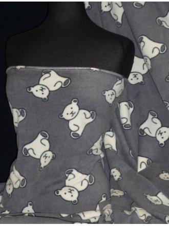 Polar Fleece Anti Pill Washable Soft Fabric- Teddy Bear Grey PPFL45 GRWHT
