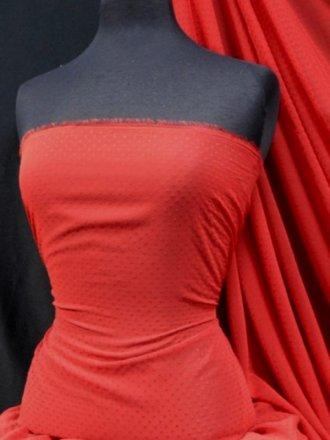 Chiffon Soft Touch Sheer Fabric - Red Bindi Flocked SQ64 RD