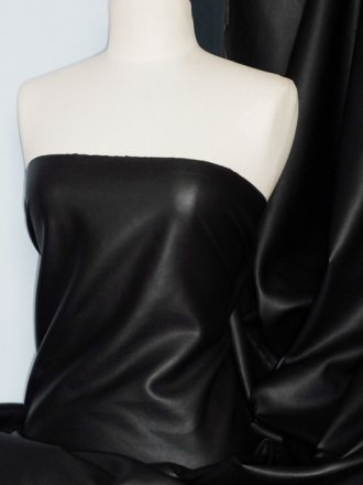 Wet Look PVC/Leatherette Coated Poly Lycra Fabric- Black SQ190 BK