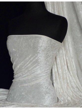Marble Texture Velvet Lycra 4 Way Stretch Fabric-  Ivory Q172 IV