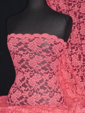 Lace Rose Design Scalloped 4 Way Stretch Fabric- Coral Q723 CRL