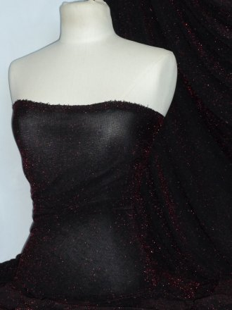 Slinky Shimmer 4 Way Stretch Fabric- Black/Red Q1183 RDBK