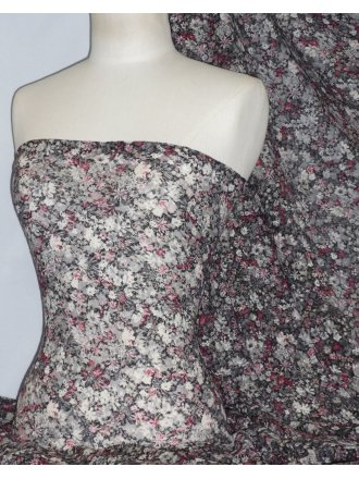 Lace 4 Way Stretch Fabric- Flower Fusion Pink LCP176 GRPN