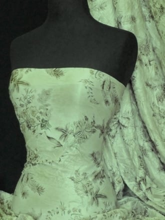 Crushed Viscose Poly Floral Stretch Fabric- Sage Green Q1052 SGR