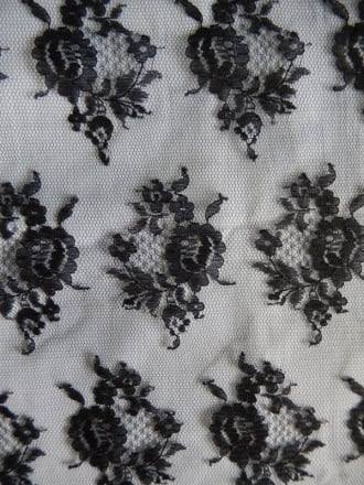 100% Polyamide Floral Lace Fabric- Black SQ73 BK