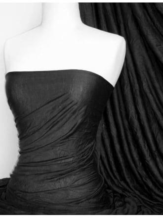 100% Crushed Viscose Stretch Fabric- Black Q517 BK
