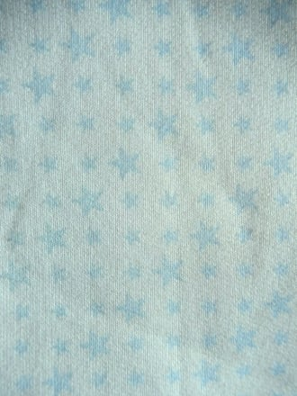 Poly Cotton Jersey Fleece- Ivory/ Duck Egg Stars Q440 IVBL