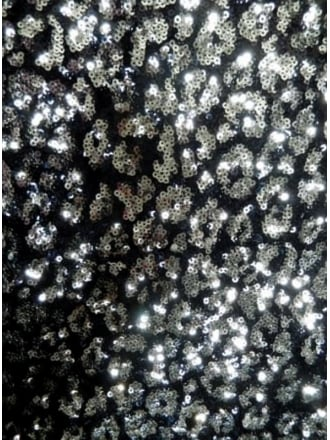 Showtime Fabric All Over Stitched 3mm Sequins - Silver Dazzle SEQ56 BKSLV