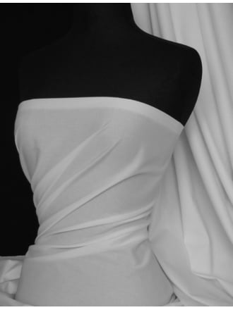Cotton Poplin Stretch Shirt Fabric- White Q448 WHT