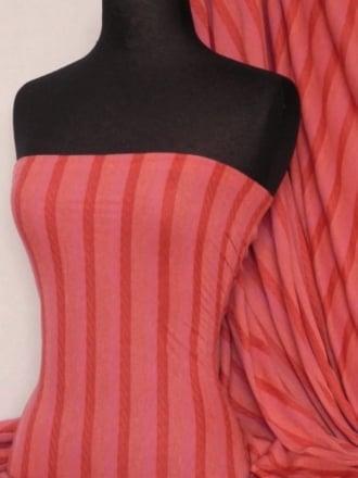 100% Viscose Stretch Fabric Material- Stripe Coral Q240 CRL