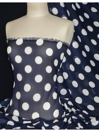 Chiffon Soft Touch Sheer Fabric- Navy/White Polka CHF185 NYWH