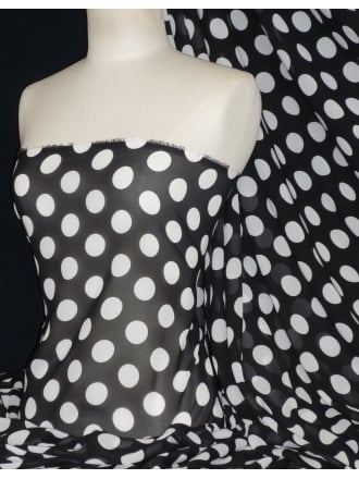 Chiffon Soft Touch Sheer Fabric - Black/White Polka CHF184 BKWH