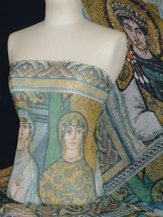 Chiffon Soft Touch Sheer Fabric - Cathedral Mosaic Yellow CHF181 YLMLT