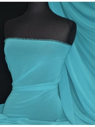 Crinkle Sheer Chiffon Material- Turquoise Blue Q795 TQBL