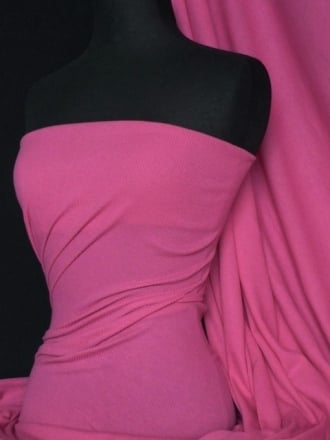 100% Cotton Jersey 2 x 2 Rib Knit Fabric- Cerise Q1007 CRS