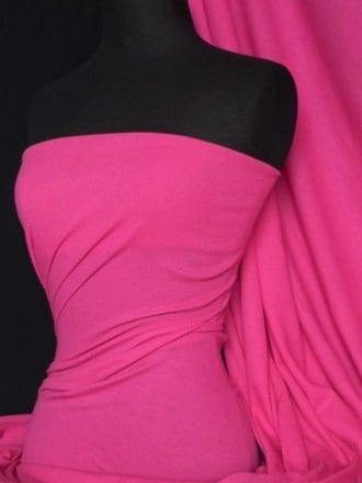 100% Cotton Jersey 2 x 2 Rib Knit Fabric- Hot Pink Q1007 HTPN