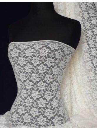 Lace Roses Stretch Fabric- Cream Q365 CRM