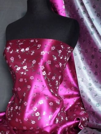 Brocade Japanese Floral Dress Fabric- Magenta Pink Q610 MGT