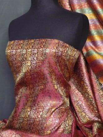 Brocade Japanese Jacquard Print Dress Fabric- Cerise Multi Q611 CRS