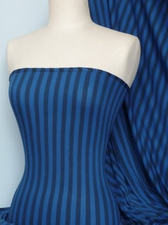 100% Viscose Fabric- Stripe Blue/Navy Q408 BLNY