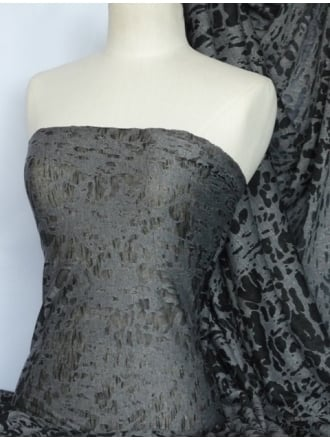 Viscose Burnout Stretch Fabric- Black/Grey Cloud Q974 BKGR