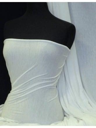 100% Viscose Silver Glitter Stretch Fabric- White Q881 WHT