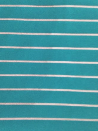 Micro Lycra Jersey 4 Way Stretch Fabric- Aqua Blue Horizontal Stripes SQ96 AQBL
