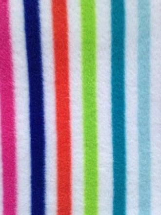 Polar Fleece Anti Pill Washable Soft Fabric- Beach Hut Stripes 1 PF BCH1