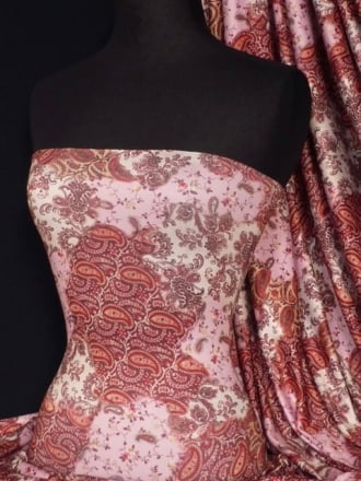 Soft Touch 4 Way Stretch Lycra Fabric- Pink Paisley Q375 PN
