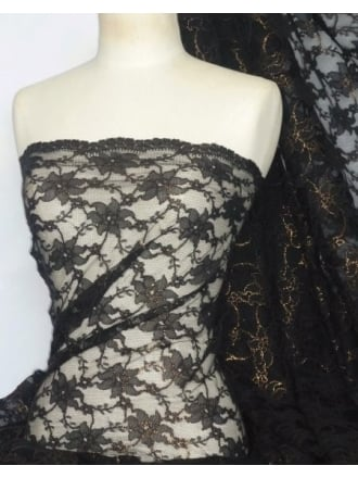 Lace Foil Cord Stretch Fabric- Black/Gold Q1225 BKGLD
