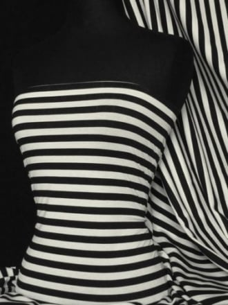 Viscose Cotton 4 Way Stretch Fabric- Black/Cream Horizontal Stripe Q1171 BKCRM