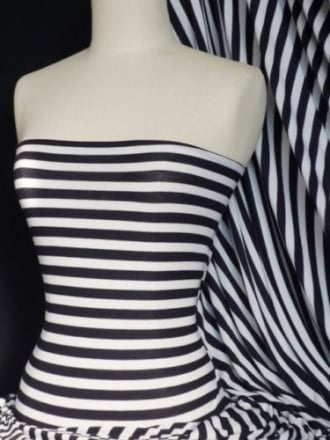 Viscose Cotton Stretch Fabric- Navy/Ivory Horizontal Stripe Q1171 NYIV