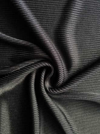 2 x 2 100% Polyester Rib Knit Stretch Fabric- Black SQ99 BK