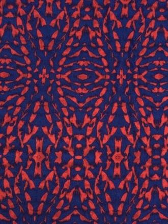 Viscose Cotton Stretch Lycra Fabric- Kaleidoscope Red/Blue VSC216 RDBL