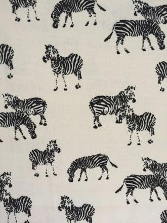 Georgette Chiffon Sheer Fabric- Zebra Black/Ivory CHF220 BKIV