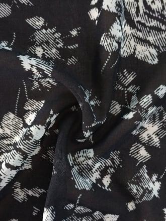 Chiffon Soft Touch Sheer Fabric- Floral Fuzz Black/Ivory CHF223 BKIV
