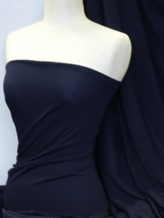 Bubble Stretch Lycra Fabric - Navy Q895 NY