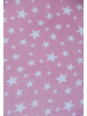 Polar Fleece Anti Pill Washable Soft Fabric- Baby Pink Twinkle PF227 BPNWHT